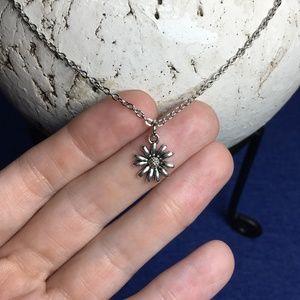 "Tibetan Silver Dainty Flower Pendant Necklace 18"""